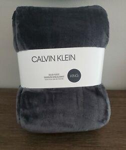 "Calvin Klein Gray Plush Fleece Oversized King Blanket 112""x92"""