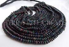 "7"" strand deep black Ethiopian WELO OPAL smooth gem stone rondelle beads 4mm"