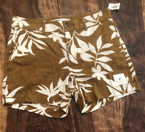 OLD NAVY EVERYDAY SHORTS LINEN Mustard/Brown White Tropical Floral Size 4 NWT