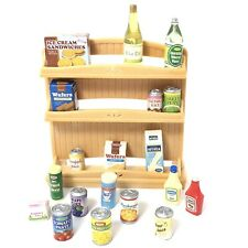 Calico Critters Supermarket Shelf Display Food Bottles Cans Boxes Dollhouse