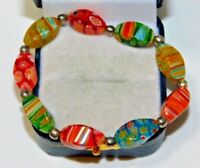 Millefiori Art Glass Yellow Red Blue Green Flowers Stretch Bracelet 10e 86