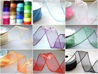 wired organza ribbon, 50mm flowers wedding, CHOOSE COLOUR, chiffon, scrapbook