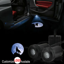 2x Blue Moon Wolf Logo Car Door Welcome LED Laser Projector Ghost Shadow Light