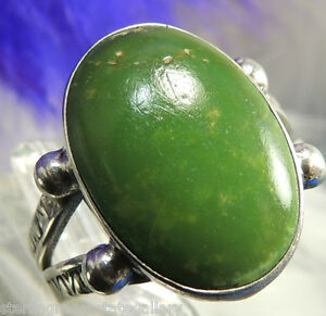"""Vintage 5/8"""" Dark Turquoise Hand Crafted STERLING SILVER 0.925 Ring size 6 or M"""