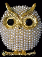 GOLD CREAM PEARL BRANCH CHI OMEGA HOOTIE HOOT OWL BIRD PIN BROOCH JEWELRY 1.75""