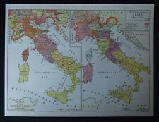 Vintage Map: Italy 1400-1500 & 1859-1870 by Emery Walker, Historical Maps, 1926