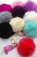 SUPER SOFT FURRY RABBIT FUR KEYRING SOFT ANGORA POM POM KEY RINGS WITH TASSLE