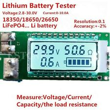 Lithium Li-ion 18650 26650 battery tester Capacity Current Voltage LCD meter