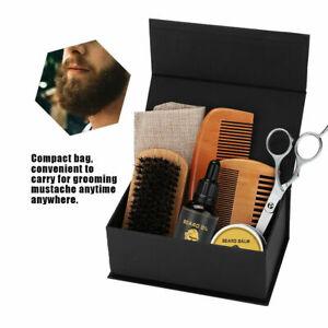 7stk Bartpflege Set für Männer Bartbalsam, Bartbürste, Bartkamm Bartschere Neu *