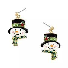 CHRISTMAS HOLIDAY SNOWMAN DANGLE RHINESTONE EARRINGS