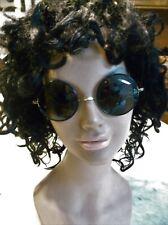 Vintage Round Frame Sunglasses Gray-Green Lenses 23mm Bridge 105mm side length