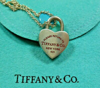 Return to Tiffany Red Enamel Heart Lock Charm Pendant Necklace with Pouch!