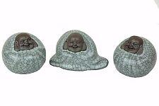 """3 Laughing Happy Buddha Budai Chinese Clay Figurine Miniatures 2.5""""H New"""