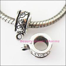 8Pcs Antiqued Silver Clouds Bail Bead Fit Bracelet Charms Connectors 9x13mm