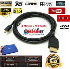 BGFY Premium 3m Long Micro HDMI to HDMI Cable Lead for Tesco Hudl & Hudl 2 HDTV