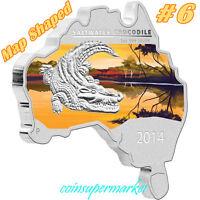 2014 Australia Map Shaped Series Saltwater Crocodile 1oz Silver Coin COA & Box !