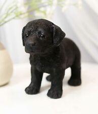 """Lifelike Adorable Black Labrador Retriever Puppy Dog Statue 5""""H Memorial Pet Pal"""
