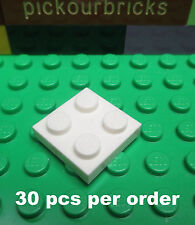 LEGO 3022 White 2 x 2 PLATE 2x2 Builing Blocks - 30 Pcs
