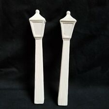 """Ceramic Bisque Ready To Paint Lamp Posts Set Of 2 Do Not Stand Alone 6"""" U Paint"""