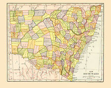 1903 Color Map of NEW SOUTH WALES, Each then existing county shown