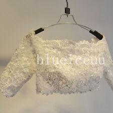 New 1/2 Sleeves Off Shoulder beads Lace Shawl Bolero Wedding Jacket Bridal Cape