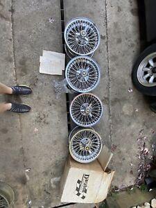 """Dayton Jaguar WIRE WHEELS 15x7"""" 5X115mm 5x4.5 XJS, XJ6"""