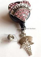 Nursing Gift ID Tag Lanyard NURSE Caduceus Pink Heart Retractable Reel Holder