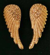New in box gold tone angel wing earrings