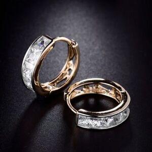 18K Yellow Gold Square Cut Diamond Hoop Earrings 268