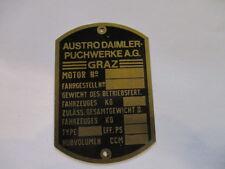 Typenschild Schild Austro Daimler Puch graz brass messing targhetta Vorkrieg