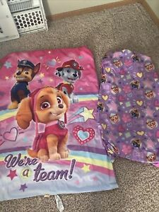 Toddler Bed Crib Paw Patrol Purple And Pink Comforter And Sheet