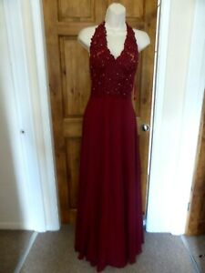 Pretty dark red beaded detail chiffon evening dress from Babyonline size 10