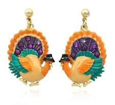 Thanksgiving Turkey Earrings Enamel Post Stud Dangles Rhinestone Jewelry