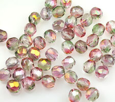 50 Pink / Green Czech Glass Fire Polished Faceted Beads 6MM