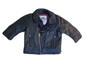 Next Baby Boy Faux Black Biker Leather Jacket | 3-6 Months