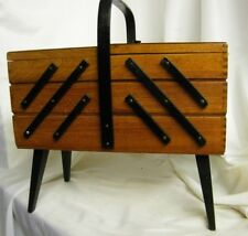 Vintage NORWAY Accordion SEWING Box Solid Mahogany Colored Wood Sewing Chest