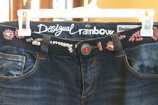 Desigual Women's Jeans Size 32 regular fit Dark Wash Floral Waistband embroidery