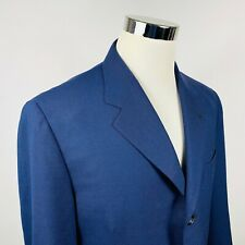 Canali Proposta Mens 42R Sport Coat Blue Check 100% Wool Three Button Lined