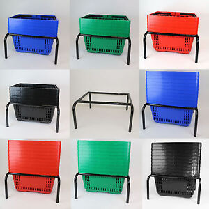 Plastic Shopping Basket   6 Colours   5 Pack or 10 Pack   With Stacker Stand