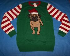 Size XLT  Mens Ugly Christmas Sweater (Santa Pug Dog)