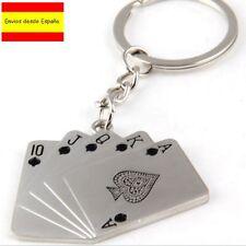Llavero Poker Ases escalera de color As Picas Ace metalizado Key chain NUEVO