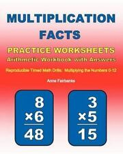 Multiplication Facts Practice Worksheets Arithmetic Workbook with Answers :...