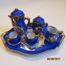 NICE LIMOGES FRANCE 8pc TEA SET 2 Hinged Boxes + 5 Miniatures & Tray