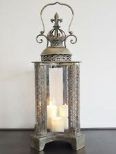 French Antique Vintage Garden Candle Hurricane Lantern Lamp Holder Large 76cm