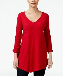 Style Co Petite Scarf-Hem Top New Red Amore PL