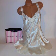 Vintage Victoria Secret Lingerie Large Chemise Slip Ivory Satin Sequin Lace