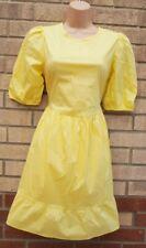 Mini Vestido nuevo diseño de color amarillo pálido Puff Manga Blusón Dolly Vintage Popelín 12 M
