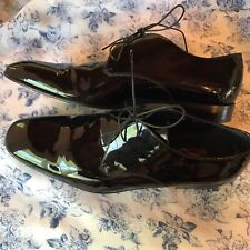 Salvatore Ferragamo Men's Black Patent Leather Dress Shoes Sz 12 EE