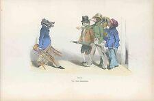 GRANDVILLE antique Lithograph print Metamorphoses Dressed boar dog umbrella