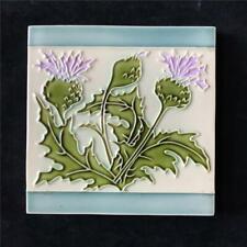 """Anitque Art Nouveau 6"""" Floral Thistle Ceramic Pottery Tile France or Belgium"""